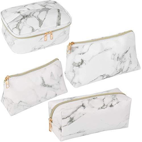 Yorgewd Marmor-Make-up-Tasche, Kosmetiktasche, Reisetasche, tragbare Kulturbeutel, Make-up-Pinsel, wasserdicht, für Damen und Mädchen, 4 Stück
