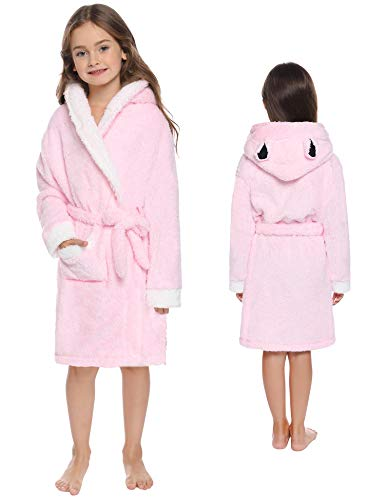 Sykooria kinderjurk, nachtkleding van molton, badjas voor jongens en meisjes, met slaapjurk, met capuchon, schattig dier