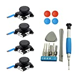 4 Pack Joycon Joystick Replacement, Switch Analog Stick Parts for Nintendo Switch Joy Con, Controller Repair Kit Include 4 Thumb 3D Sticks,1 Screwdriver kit,1 Pry Tools,4 Thumbstick Grips