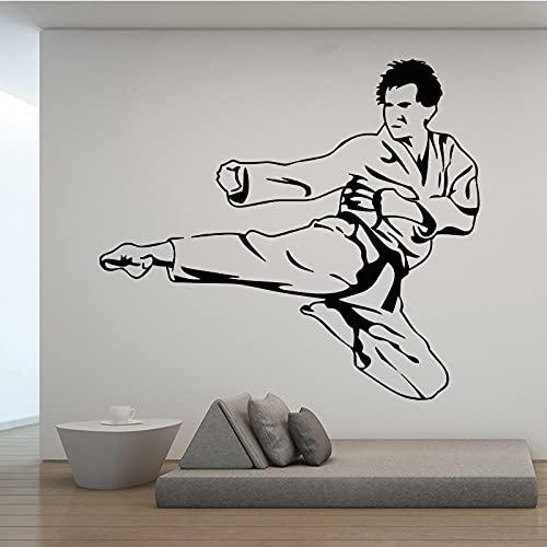 Vcnhln Karate Kick Player Deportes Etiqueta de la Pared Mural Familia niño niño habitación decoración de Fondo calcomanía Cartel 80x90 cm