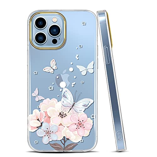 JAHOLAN Clear Case Compatible with iPhone 13 Pro Max Case with Flowers, for Girls Women, Shockproof Glitter Floral Pattern Hard Back Cover...