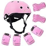 Purpol Kids Adjustable Helmet, with Sports Protective Gear Set Knee Elbow Wrist Pads for Toddler Age 3-8 Boys Girls, Bike Skateboard Hoverboard Scooter Rollerblading Helmet Set? (Pink)