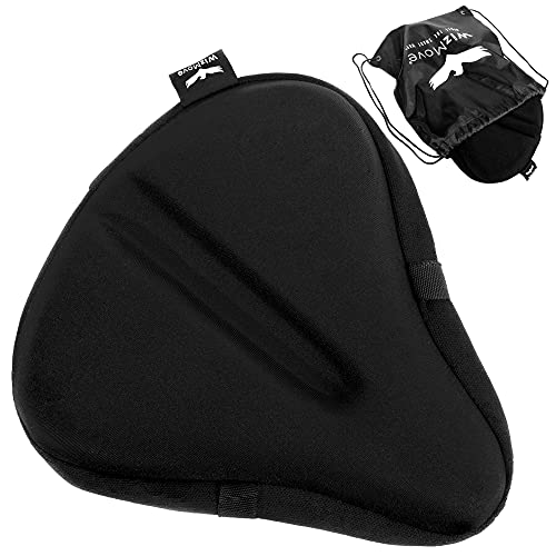 WizMove Large Bike Seat Cover | Premium Wide Gel Bicycle Saddle Cushion | Extra Padded Comfort for Exercise, Stationary, Cruiser or Spinning Cycling (Black)