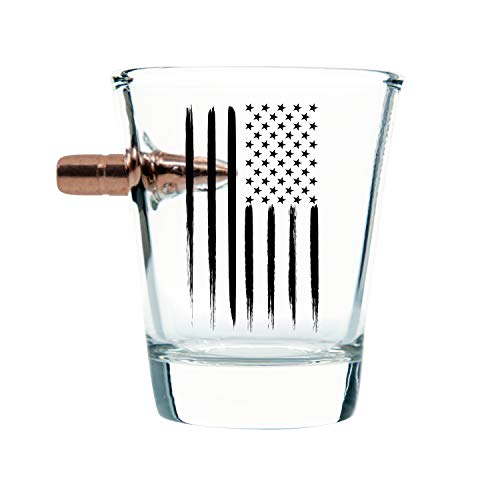American Flag Shot Glass – Hand Blown Glasses – Real 308 Round Design – Patriotic Gifts