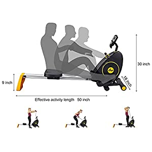 FISUP Exercise & Fitness Rowers Magnetic Rowing Machine Adjustable Powerful Silent System Workout for Home Office Use Black (Renewed)