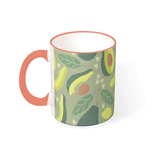 O2ECH-8 11 oz Avocado-Grün Wasser Kaffee Becher mit Griff Glatte Keramik Funny Tassen - Lustig pur Jungen Männer Gegenwart, für Restaurant verwenden Persimmon 330ml
