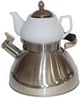 Double Tea Pot and Kettle Samovar Style Stainless Steel and Porcelain
