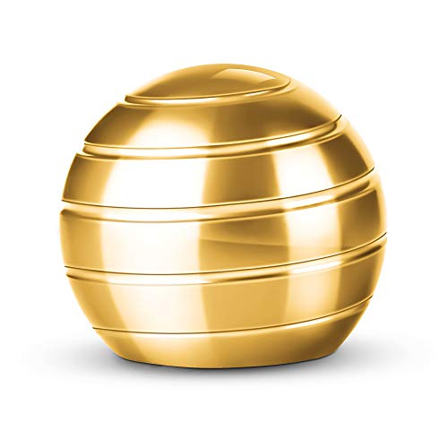 ATESSON Fidget Spinner Ball Kinetic Desk Toy, Optical Illusion Metal Fidget Spinning Ball, Office Stress Relief Spinner Toys for Adults Kids (1.5 in-Gold)