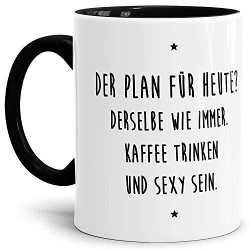 Tassendruck Lustige Tasse mit Spruch Kaffee Trinken und sexy Sein - Büro/Job/Arbeit/Witzig/Kaffee-Tasse/Geschenk-Idee/Innen & Henkel Schwarz