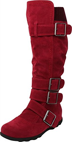 Cambridge Select Women's Buckle Sweater Knee High Flat Boot (7.5 B(M) US, Wine)
