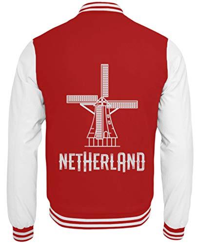 Schuhboutique Doris Finke UG (haftungsbeschränkt) Holland Niederlande Amsterdam Windmühle - College Sweatjacke -XL-Rot-Weiss