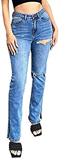 Sponsored Ad - Women's Ripped Stretchy High Waisted Relaxed Fit Jeans Split Hem Straight Denim Pants