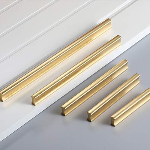 Angela-homestyle Möbelgriffe Aluminium Relinggriff Handgriff Griff für Küche Schublade, Tür, Schränke Dekoration (64mm, Gold)