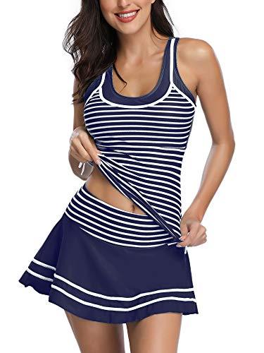 Summer Mae Damen Tankini Retro Streifen Badekleider Marineblau XXL
