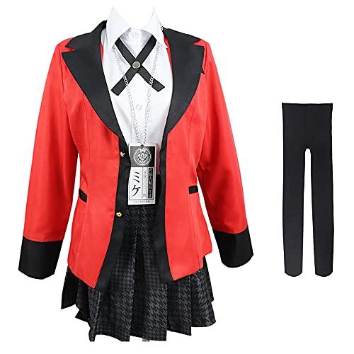 Cosplay Anime Cosplay Kakegurui Cosplay, Jabami Yumeko Cosplay para adultos Escuela de Mujeres JK Uniforme Falda, Disfraz Uniforme Escolar Set completo para mujeres y niñas, rojo, S