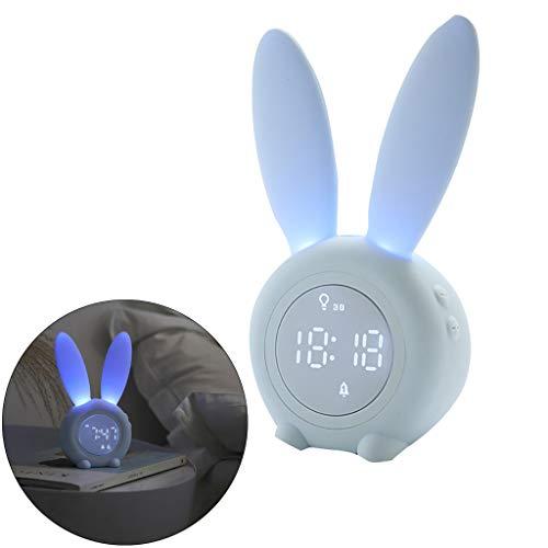 Lichtwecker LED Digitaler Wecker Großes Display im Hasen Ohren Design, Magnetisch Reisewecker Tischuhr Wake Up Licht Nachttischlampe - VNEIRW Kann am Kühlschrank angebracht Werden (Blau)