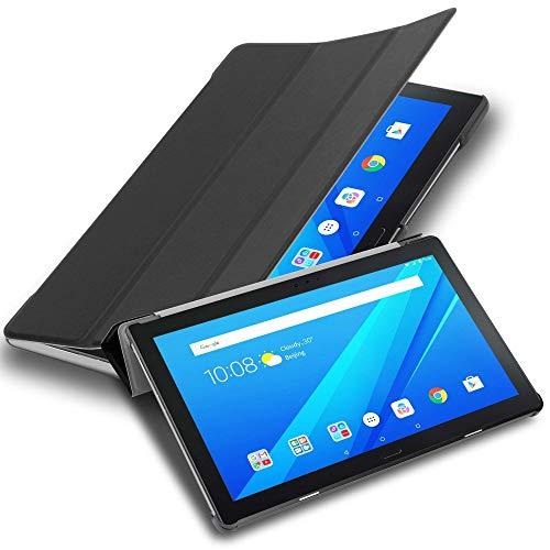 """Cadorabo Tablet Hülle für Lenovo Tab 4 10 Plus (10,1\"""" Zoll) in Satin SCHWARZ – Ultra Dünne Book Style Schutzhülle mit Auto Wake Up und Standfunktion aus Kunstleder"""