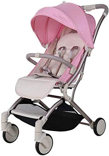【Nueva actualización】 Cochecito ligero, silla de paseo de bebé, multifunción sentado reclinable, ligero y plegable, cochecito de bebé antichoque, es seguro y lo mejor (color: rosa).