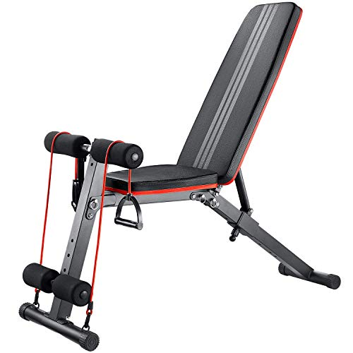Ober Folding Adjustable Weight Bench for Full Body Workout Strength Training Foldable Workout Bench for Home Gym
