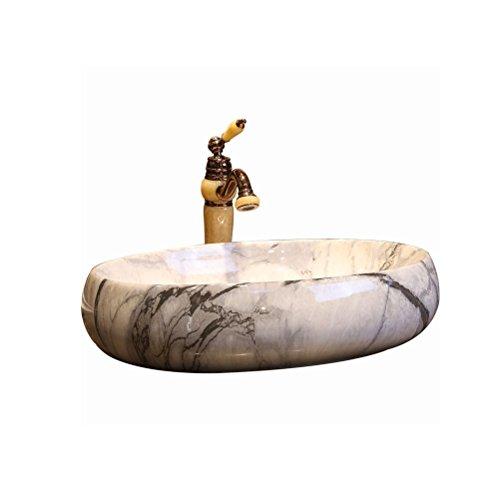 Badkuip ZI LING SHOP- marmer patroon kunst boven Counter wastafel wastafel ovaal grote wastafel boven Counter wastafel (60x43x15cm)