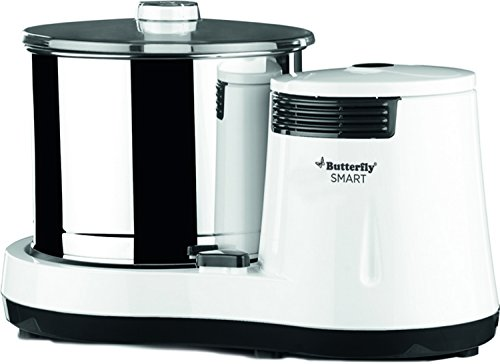 Butterfly Smart Wet Grinder, 2L (White) with Coconut Scrapper Attachment, 150 W