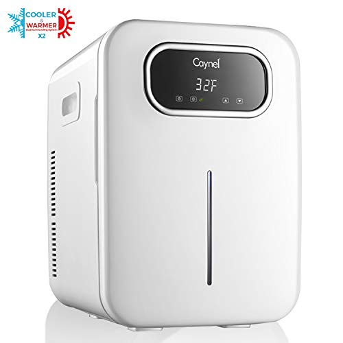CAYNEL 20 Liter Compact Fridge Cooler and Warmer, Portable Mini Personal Fridge, Dual-Core Cooling System with Adjustable Digital Thermostat, Cool Down to 35ºF Below Ambient Temperature