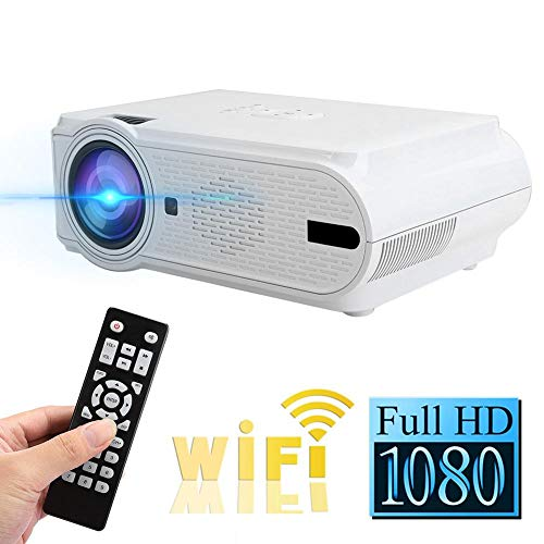 Bewinner1 Portable LED Projector, Mini Video Projector Bluetooth Overhead Projector Supports 1080p HDMI VGA AV TV, Home Cinema TV Projection Screens for Tablet OS/Android Smartphones(Blanc)