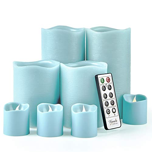 Furora LIGHTING LED Flameless Candles with Remote Control, Set of 8, Real Wax Battery Operated Pillars and Votives LED Candles with Flickering Flame and Timer Featured - Light Blue Preferences  New