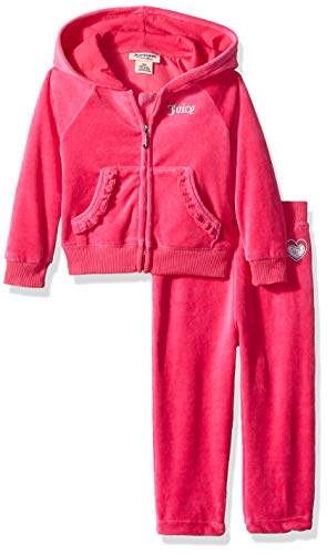 Juicy Couture Baby Girls 2 Pieces Jog Set-Velour, Silent Vanilla, 12M