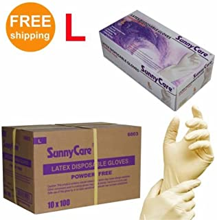 1000/cs Latex Disposable Gloves Powder Free -Size Large 100pcs/box ; 10 Boxex/case