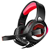 Xbox One Headset with Microphone, Wired Gaming Headset for PS4, Xbox One, PC, Mac, Laptop, Over Ear Headphones with 7.1 Surround Sound, Pro PS4 Headset with Noise Canceling, Volume Control (Red)