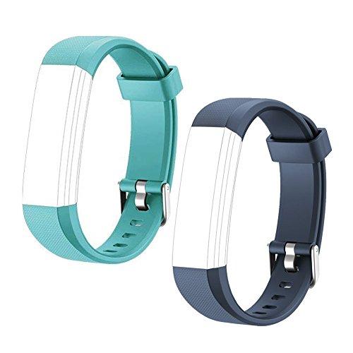 HOTSO 2 Piezas Pulsera de Repuesto para Reloj Inteligente ID 115U, Cómoda y Durable Correa de Recambio – Azul Oscuro+ Azul Verde