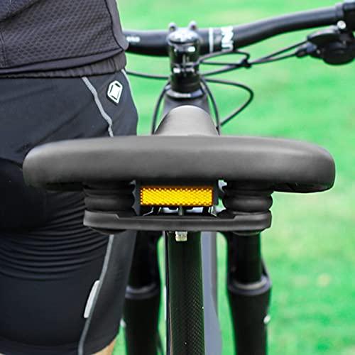 Monnadu Asiento de bicicleta hueco cómodo con doble muelle impermeable y alta estabilidad cojín grande cuero sintético ampliado asiento de bicicleta para MTB negro