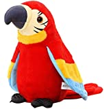 Holiberty Talking Macaw Parrot Repeat What You Say Stuffed Animal Plush Toy Electronic Record Animated Bird Shake Wings Speaking Parrot Pet Plush Interactive Toys Christmas Birthday Gift