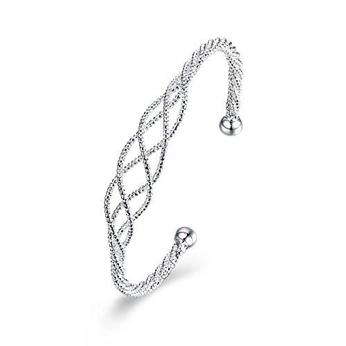 Bodya Eternal Love Vier Strand Twist Seil Armband Armreifen Krone Charm Offene Manschetten für Frauen Silber Ton