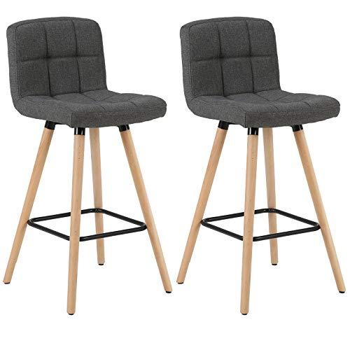 WOLTU Barhocker BH160dgr-2 2er Set Barstuhl Bistrohocker Tresenhocker mit Lehne und Fußstütze Design Stuhl Massivholz Leinen Dunkelgrau