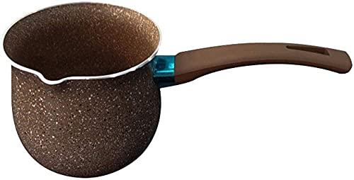 Cazos de Cocina,Cafetera caliente portátil Cacerola de mantequilla Mango de baquelita Olla de leche para picnic al aire libre Camping-Marrón    8cm