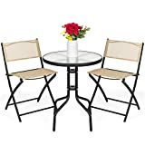 Best Choice Products 3-Piece Patio Bistro Dining Furniture Set w/Textured Glass Tabletop, 2 Folding Chairs, Steel Frame, Polyester Fabric - Beige