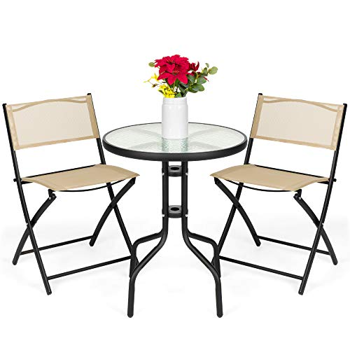Best Choice Products 3-Piece Patio Bistro Dining Furniture Set w/Round Textured Glass Tabletop, Folding Chairs - Beige