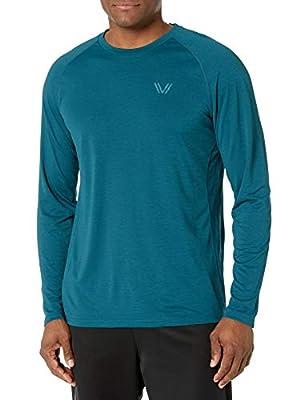 Amazon Brand - Peak Velocity Men's VXE Long Sleeve Quick-dry Loose-Fit T-Shirt, Reflection Green Heather, Medium