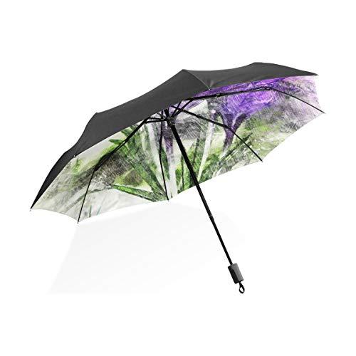 Großer Regenschirm Winddicht Krokus Blumen Schnee Blüte Blüte Lila Frühling Tragbarer Kompakter Taschenschirm Anti-UV-Schutz Winddicht Outdoor-Reisen Frauen Riesen-Sonnenschirm
