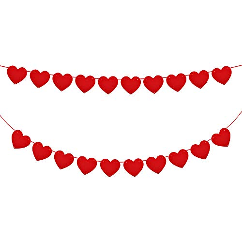 HOWAF 5M Red Love Heart Bunting Garland Decoration Valentine's Day Heart Banners Felt Wedding Party Valentines Hanging Decorations Backdrop Party Supplies