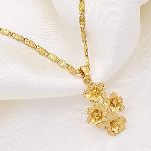 niuziyanfa Co.,ltd Halskette Blumen Anhänger Halsketten für Frauen Gold Farbe Blumenschmuck African Arab Birthday Party Geschenk