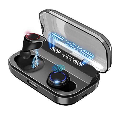 【2021革新版 Bluetooth5.0】ブルートゥースイヤホンワイヤレスイヤホン35時間連続再生Hi-Fi高音質自動ペアリング Bluetooth 5.0+EDR搭載CVC8.0ノイズキャンセリングACC対応LEDディスプレイ残量表示マイク内蔵ハンズフリー通話軽量タッチ操作音量調整快適装着分離型片耳/両耳ブルートゥースイヤホンIPX7防水Siri対応 Type‐C充電ビジネス/WEB会議/テレワーク/仕事/通学/ウォーキングiPhone/iPad/Android適用 (ブラック)