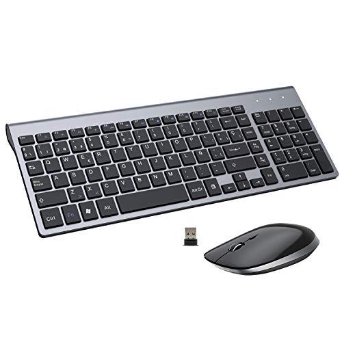 FENIFOX Teclado Inalámbrico y Mouse,diseño ergonómico 2,4 G Teclado inalámbrico y ratón Combinado con Nano Receptor USB para PC de Escritorio, Mac OS Windows Linux (Negro)