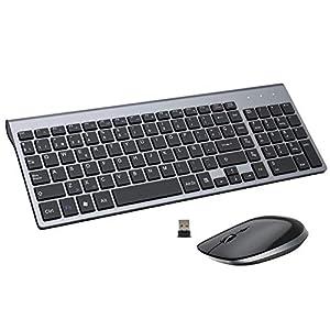 FENIFOX Teclado y Raton inalambrico, diseño ergonómico 2,4 G Teclado inalámbrico y ratón Combinado con Nano Receptor USB para PC de Escritorio, Mac OS Windows Linux-Gris Negro