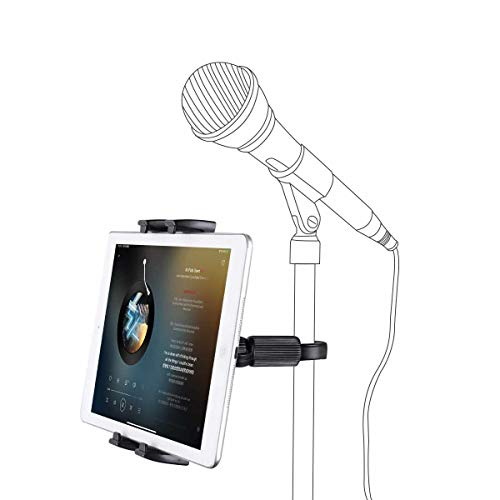 Ipad Stand JENMV Aadjustable Mobile Phone Holder,Mounts for Microphone Stands,Mic Music Stand Mount Compatible with iPad Mini, iPad,2,3, iPad Pro, iPad Air, iPhone Smartphone 4.7-12.9' Tablets(Black)