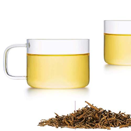Friedos Tee Tasse klein 2er Pack 100ml Fassungsvermögen passend zu Teekannen - Teetasse aus Borosilikat Glas bis 130°C - 100ml Volumen 2 Stück