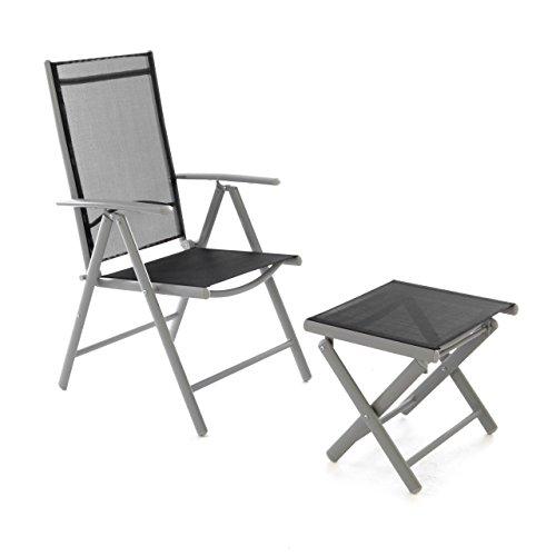 Nexos ZGC34450_SL Klappstuhl Gartenstuhl Campingstuhl Liegestuhl mit Hocker – Sitzmöbel Garten Terrasse Balkon – klappbarer Stuhl aus Aluminium & Kunststoff-schwarz