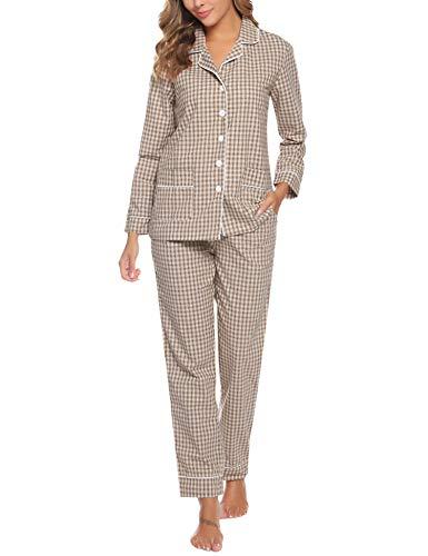 Aibrou Damen Schlafanzug Pyjamas Set Langarm Zweiteiliger Nachtwäsche mit Knopfleiste Sleepwear Marron (Braun) M
